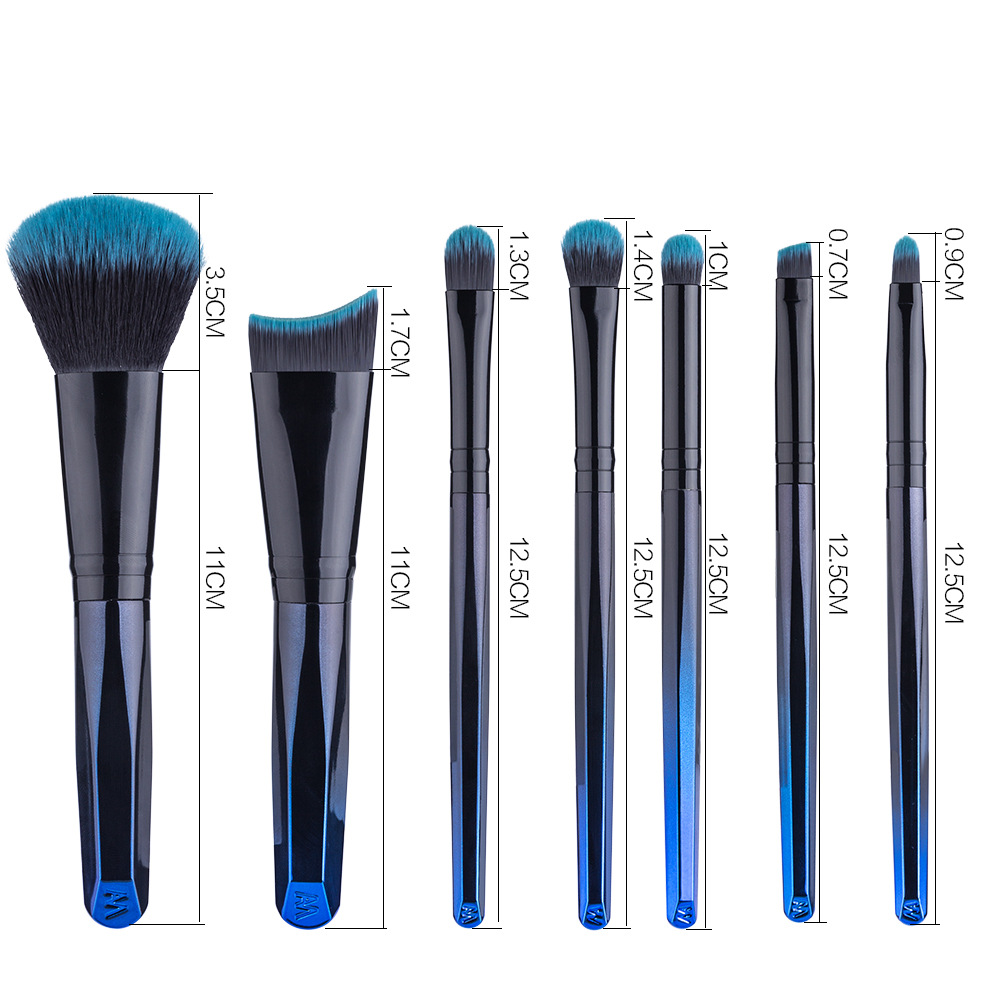 Free Sample Private Label Make Up Brush 7 Pcs Blue And