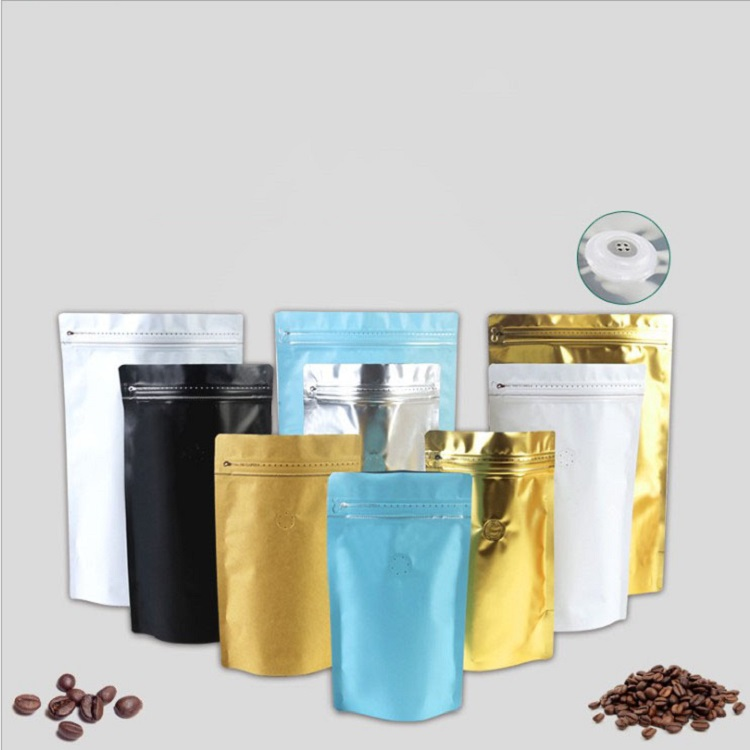 Custom Printed Aluminum Foil Coffee Bean Packing Pouch   /   Coffee Packaging Bag with Valve  zipper  Flat Bottom Coffee Bag