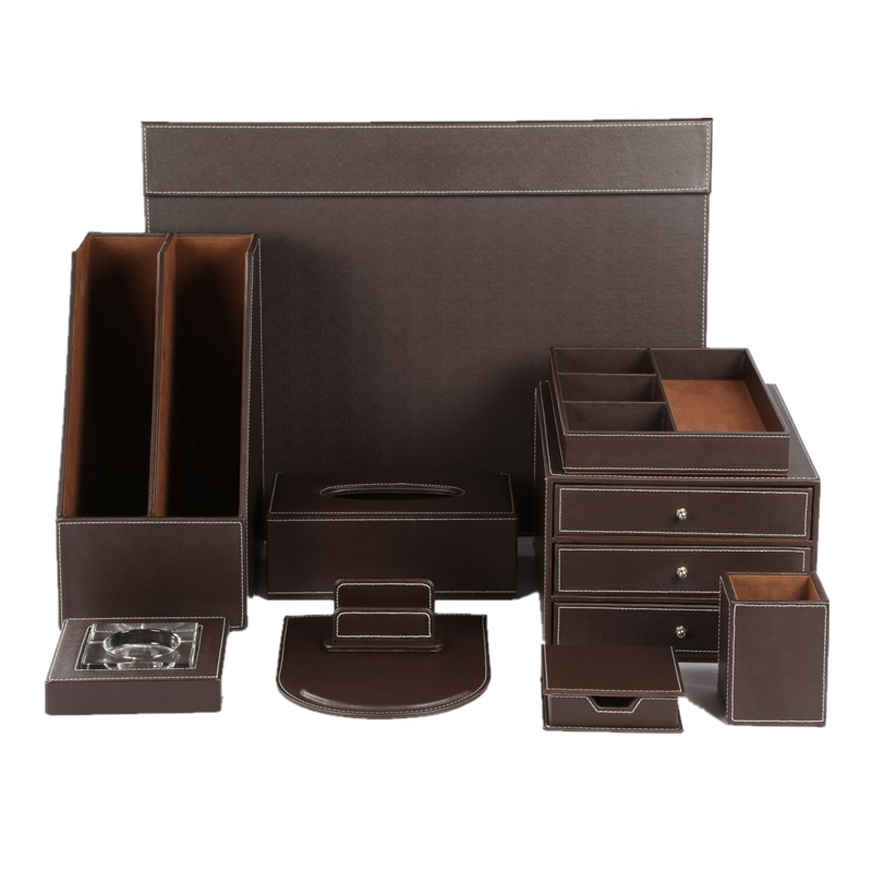 Brown Leather Office Desktop Organizer Schreibtischsets