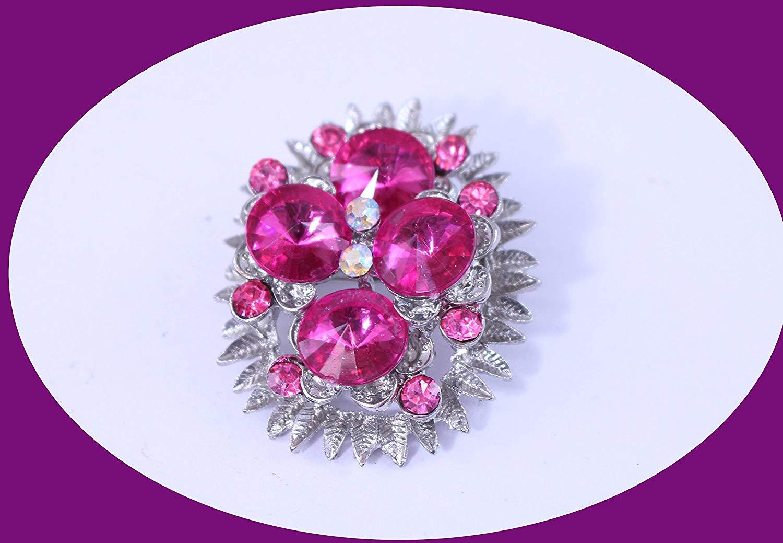 Vintage Rhinestone Brooch Pink Ravioli Rhinestones AB Crystals In Silver Tone Metal Vintage Crystal Brooch Vintage Jewelry Costume Jewelry