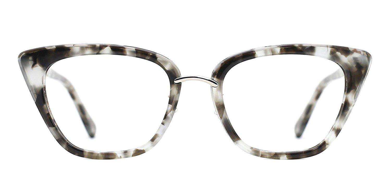 3a375011f Get Quotations · Slocyclub Women Mod Cateye Marbled Acetate Metal Eyeglasses  Frame