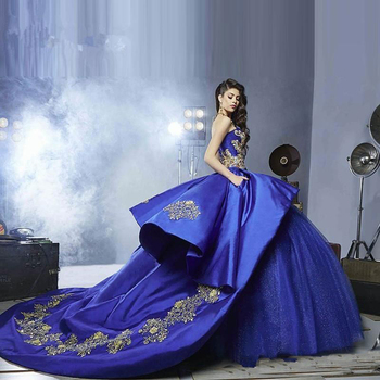 Luxury Gold Embroidery Quinceanera Dresses Masquerade Ball Gown Royal Blue Sweety 16 Girls Prom Ball Gowns Buy Quinceanera Dresses Ball Gown Gaun Prom Gaya Barat Bola Gowns Biru Tua Product On Alibaba Com
