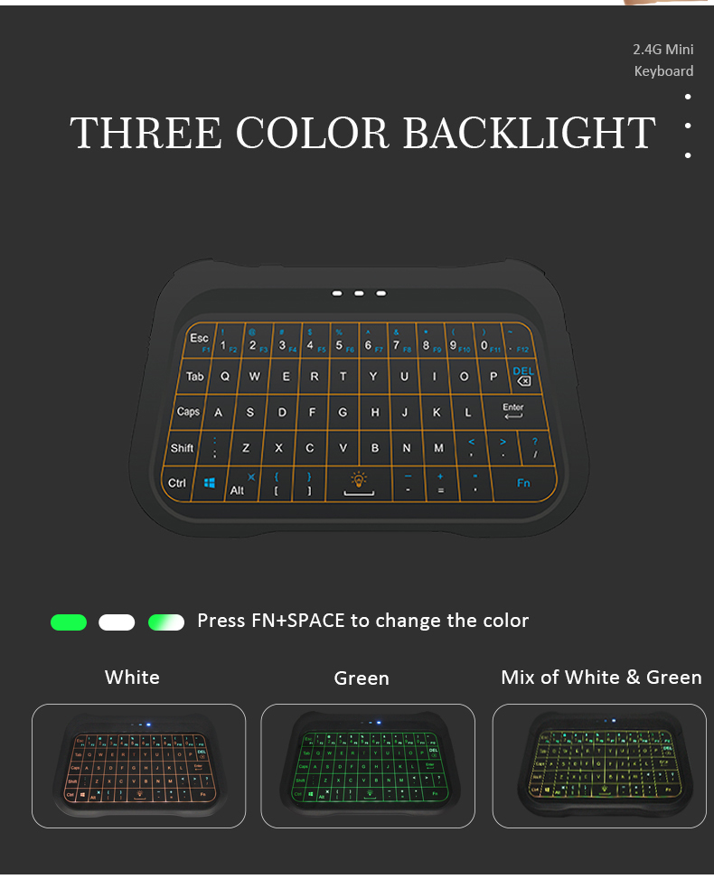 Multifunctional Android TV Box, Projector, IPTV, HTPC, PC, Laptop,  phone etc T18 ergonomic backlight mini keyboards