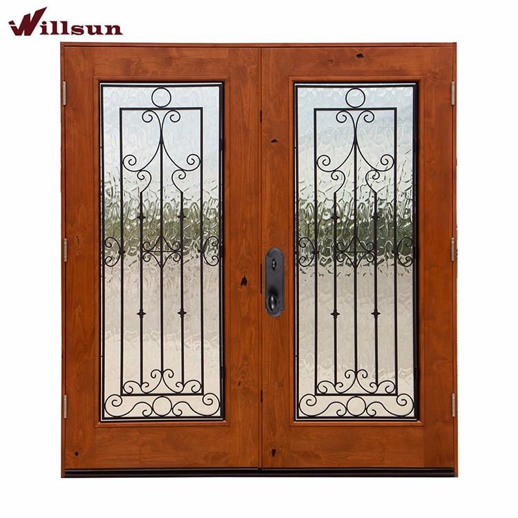 Doble de hierro forjado puertas de madera de entrada de for Puertas de madera y cristal exterior