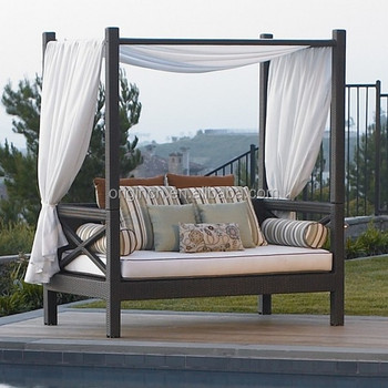 Asian Royal Style Balcony Sun Lounge Furniture Wicker Ratan Outdoor Daybed Canopy