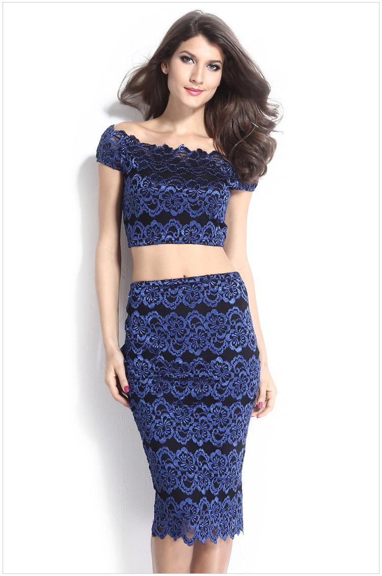 4f919f8afc ... Skirt,Crop Top,Skirt Set. D... Get Quotations · Club women's blue lace  fashion dress Roupas femininas conjunto vintage short sleeve camisa and  saia 2