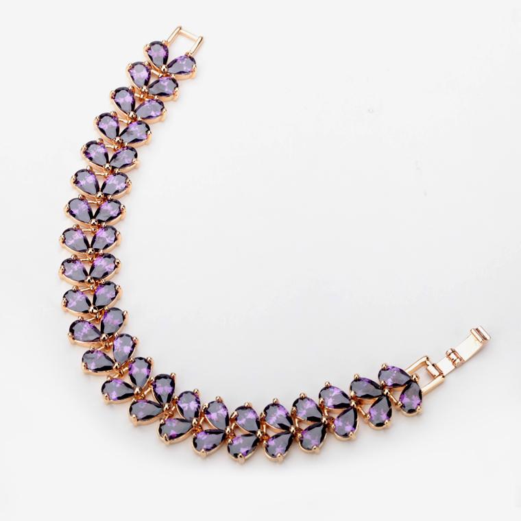 Teemi18k шампанское позолоченные европейский стиль старинные браслет фиолетовый цвет вод-падения ааа циркон браслет браслеты для новобрачных