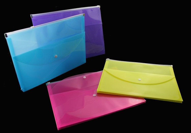 A4 Plastic Wallet Zip File Document Bags Zip Lock Bags Plastic Pocket Pack of 12