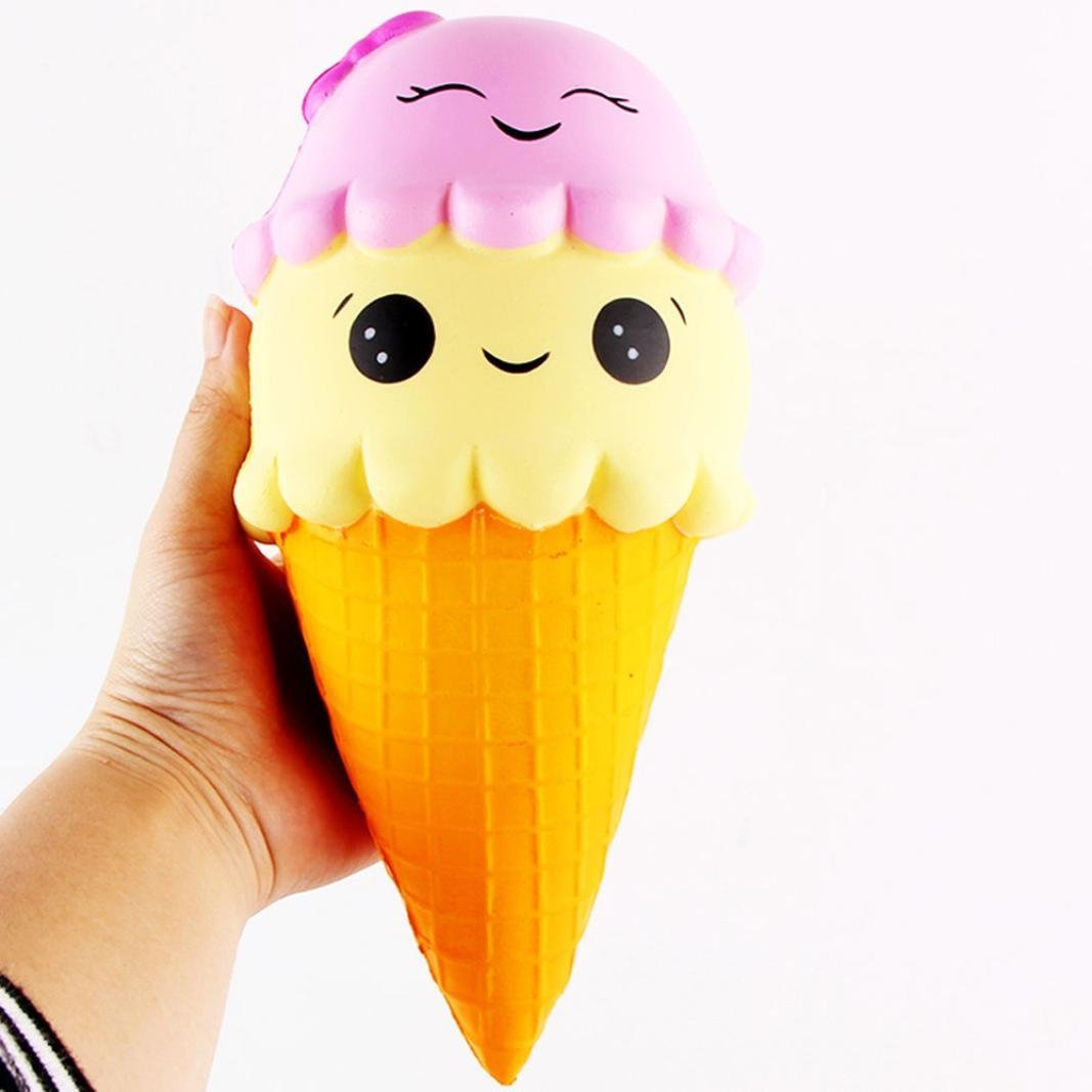 Advertising Wholesale Slow Rising Soft Package Mobile Phone Strapes Kitchen Toys Super Jumbo White Ice Cream Cone Squishy Scented Rich And Magnificent Automobiles