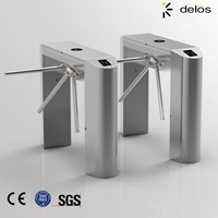 Automatic access control waist high 304 stainless steel tripod turnstile gate mechanism with RFID card/fingerprint reader