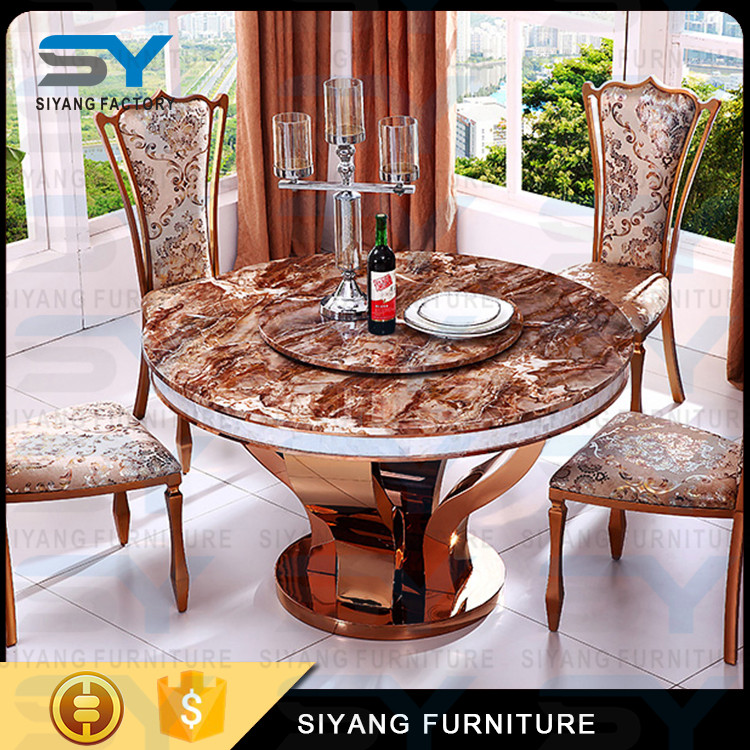 Malaysia 8 Seaters Cheap Round Black Marble Top Industrial Dining