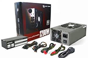 HIGH POWER® RockSolid Power 1200W 80Plus/UL/TUV/SLI Certified Gaming PC Silent Dual-Fan ATX 12V Black 6X PCI-E 9X SATA Power Supply with Modular Cable Design for Intel Core i7 Quad Core Haswell Socket LGA1150 Z87 - Retail PSU Box with Matching Heavy Duty US Power Cord