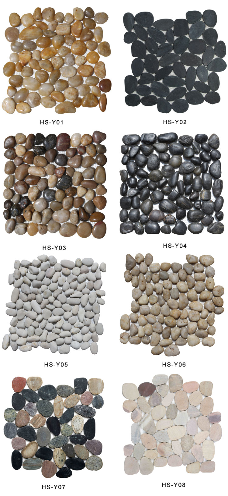 HS-PE06 decorate natural white round pebble stone