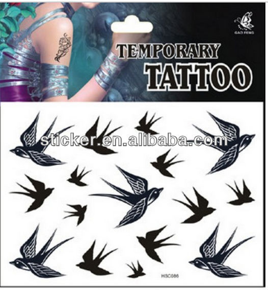 waterproof black swallow body sticker tattoos