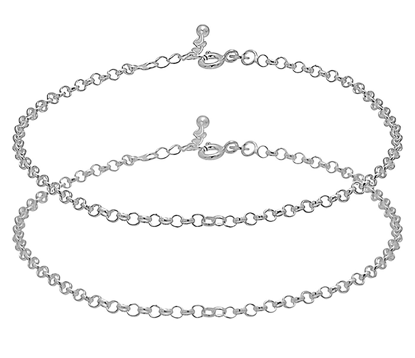 D&D Crafts Chain Design Sterling Silver Anklets for Women, Girls