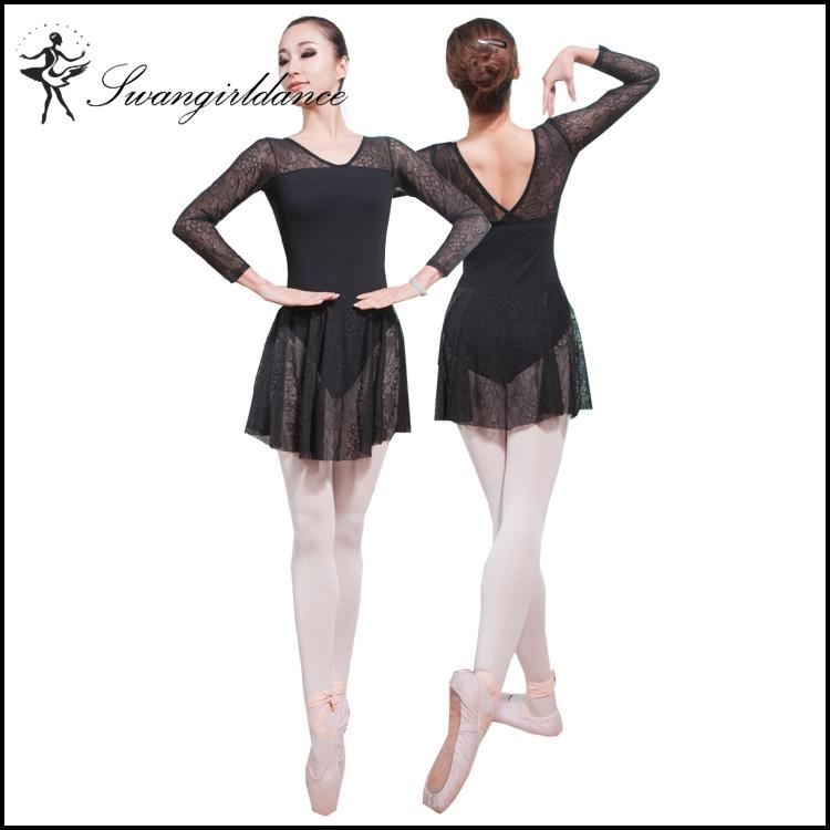 0031bc01adce girls long sleeves mock turtleneck leotards dance training gymnastics lace  skirted ballet leotards