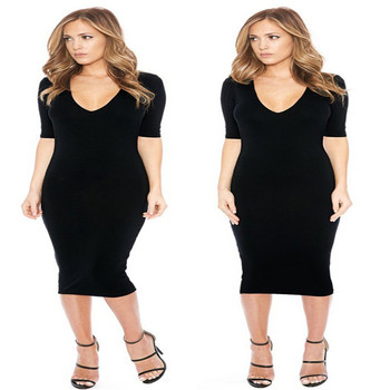 European Simple style V neck black one piece dress Africa women backless  short sleeve black club bfc0fe130f0b