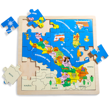 world map wood jigsaw Puzzle with kinds of graphics for kids