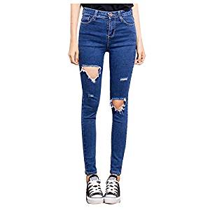 Women Jeans - TOOGOO(R)Woman's Fashion Casual Women Brand Vintage High Waist Skinny Denim Jeans Slim Ripped Pencil Jeans Hole Pants Female Sexy Girls Trousers(blue, China-30/US-8)