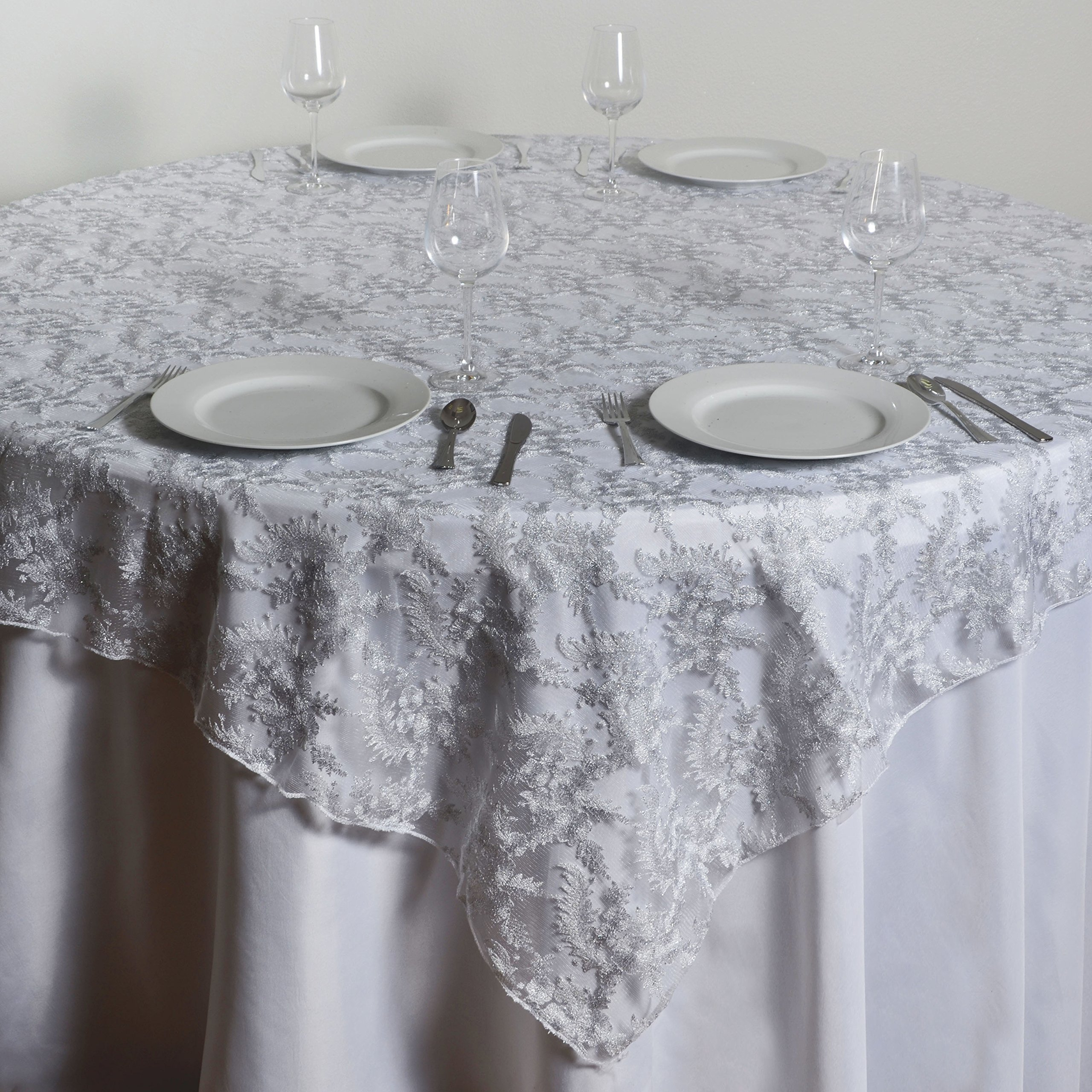 superior Cheap Lace Overlays Part - 12: Get Quotations · BalsaCircle 72x72-Inch White Flowers on White Lace Table  Overlays - Wedding Reception Party Catering