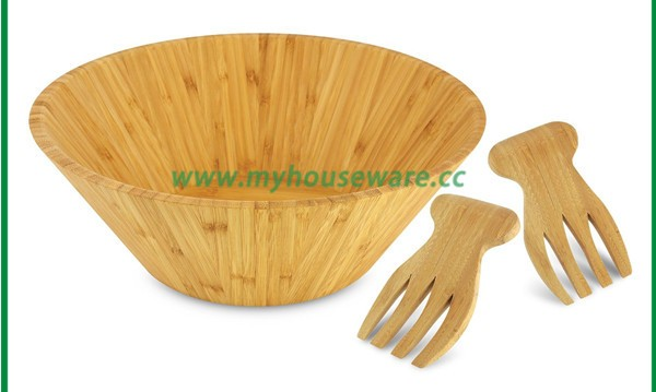 strong bamboo wood salad bowl with its serving hands