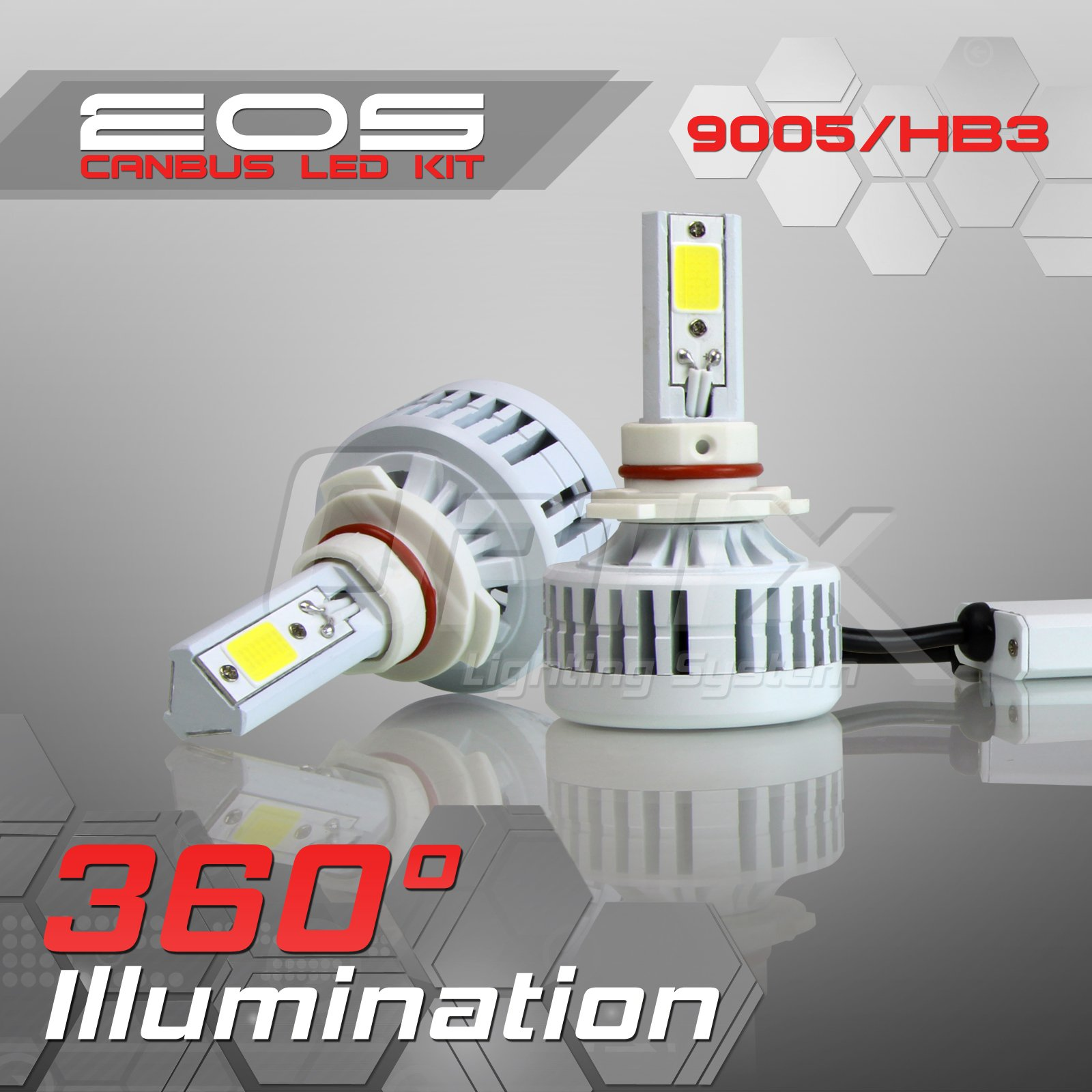 Optix 80W 8000LM LED Headlight Conversion Kit - 9005 HB3 High Beam Bulbs - 6000K 6K Diamond White - Premium Epistar COB Chip - Canbus Chip Error Free No Flicker Plug and Play Design