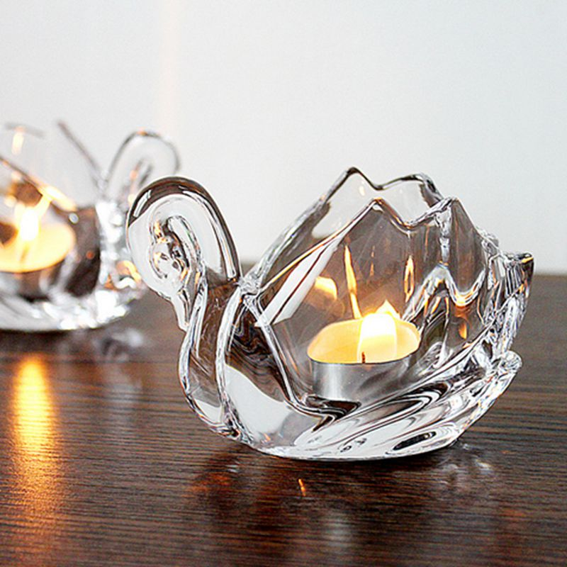 Crystal high transparency swan candle holder