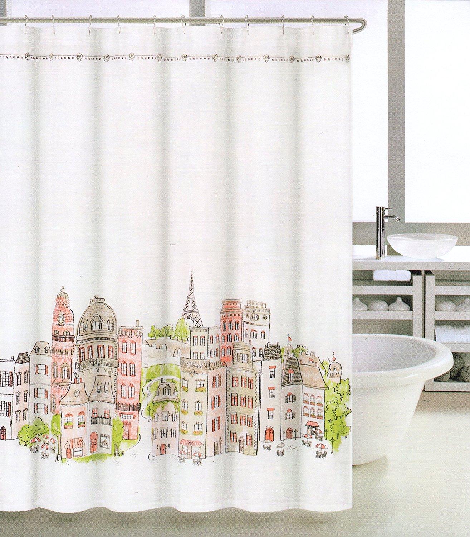 Get Quotations Tahari Fabric Shower Curtain Orange Green Taupe White France Paris Fiffel Tower