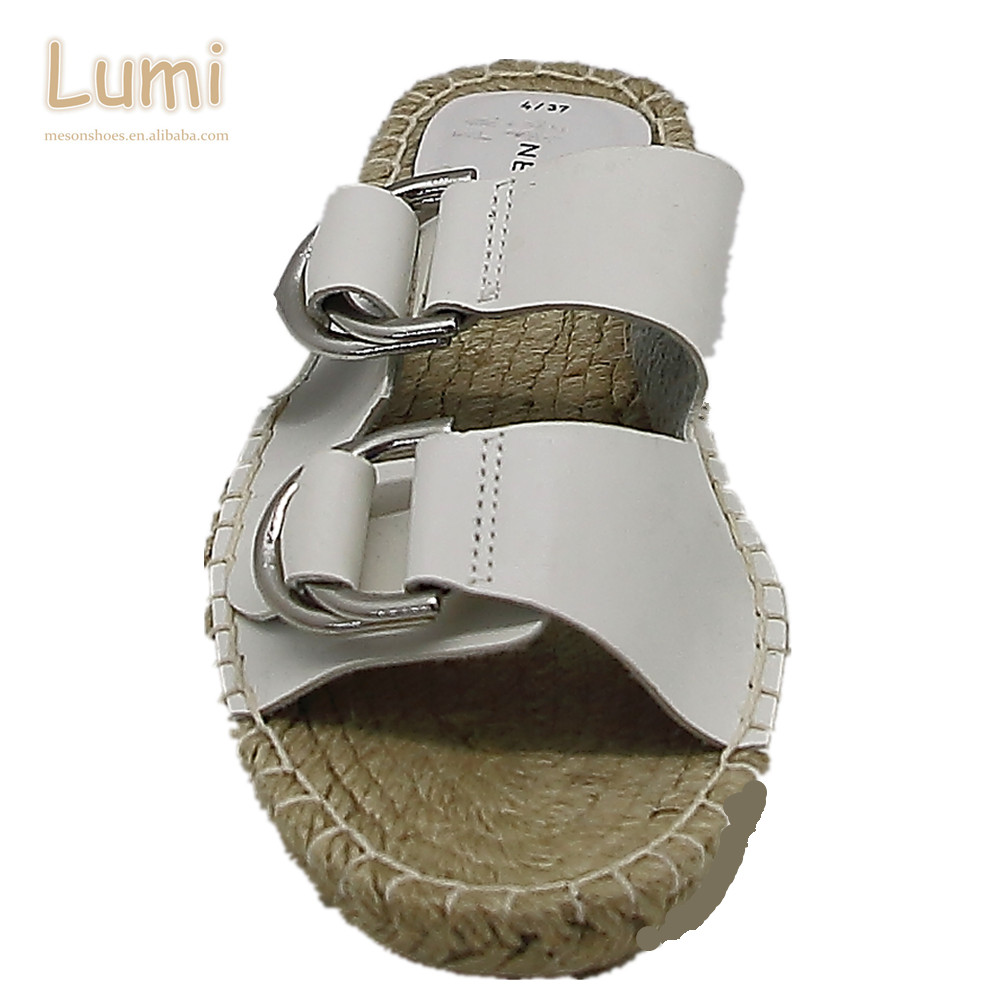 468f3374a1a 2018 summer women fashion fancy flat platform jute slipper sandals ladies  buckle shoes