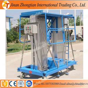 Aluminum mast Lift platform lowered - 10 Meter Aluminium Alloy Lifting Platform electric ladder
