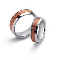 Stainless Steel with rose Gold plated couple pair ring