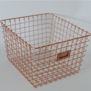Wholesale Fashion Design Rectangular Decorative Metal Wire Mesh Home Storage Laundry Basket