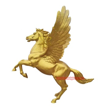 Customized fiberglass sculpture product Jumping winged golden horse statue