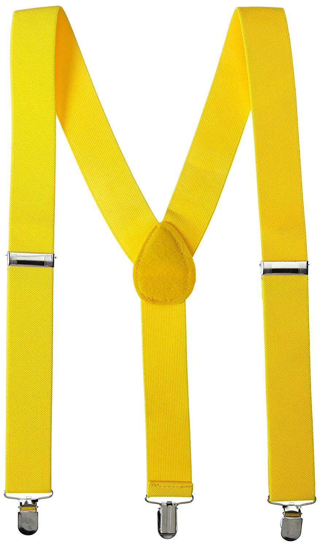 "Unisex Clip-on Braces Elastic Slim /""Yellow Checker/"" Y-back Suspender"