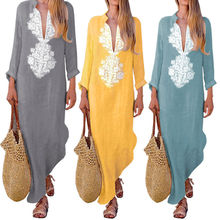 Delle donne Del <span class=keywords><strong>Cotone</strong></span> <span class=keywords><strong>di</strong></span> Lino Maxi <span class=keywords><strong>Vestito</strong></span> A Maniche Lunghe Casuale Boho Kaftan Tunica Gypsy <span class=keywords><strong>Vestito</strong></span> Etnico