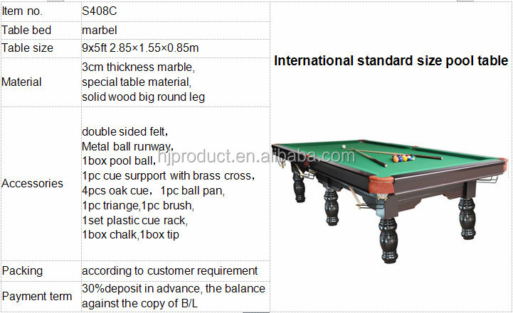 Elegant Billiards International Standard Pool Snooker Table