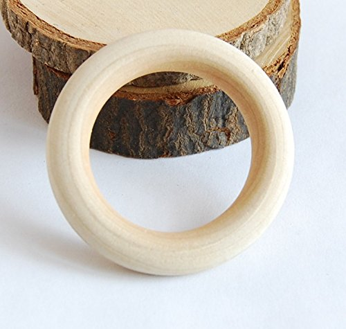 Para-wish 20 Pack Wood Rings Wooden Rings for Craft, Ring Pendant and Connectors Jewelry Making (70 mm)