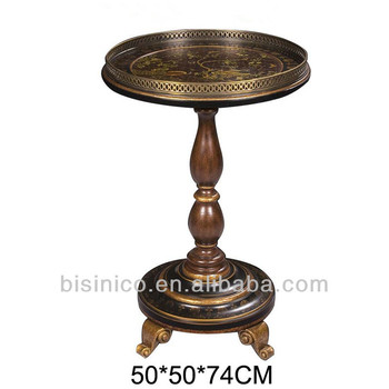 Vintage English Style Wooden Small Round Table With Painting Home Decorative Living Room End Coffee