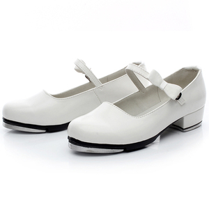 a6ebc4949 White Colored kids Ribbon Slide Buckle Genuine Leather dance tap shoes  wholesale for girls
