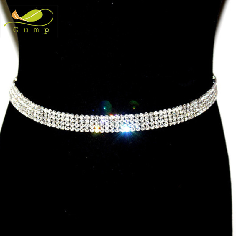 Clear Stone 4 Rows Rhinestone Waist Chain Belts Female Crystal Belt