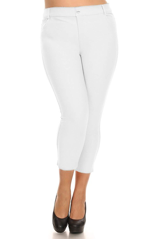 4822a64f49cf91 Get Quotations · SongandSol Women's Plus Size Capri Cropped Jeggings XL 2XL  3XL