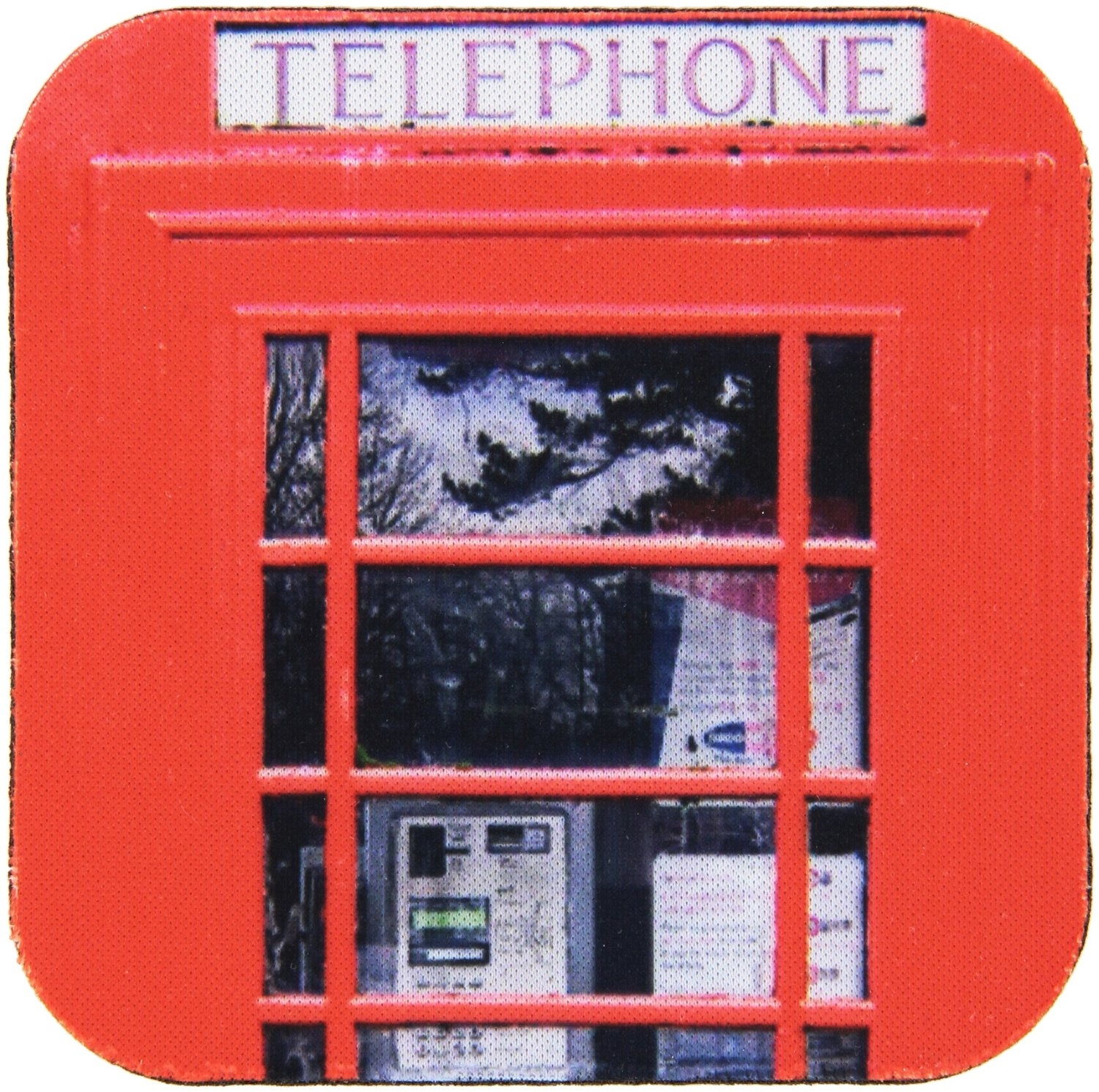 3dRose cst_113141_1 British Red Telephone Box Photo UK Vintage London United Kingdom Britain Travel Souvenir Photography-Soft Coasters, Set of 4