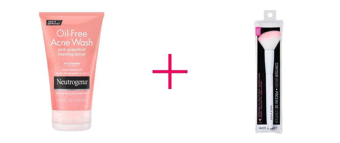 2 of Neutrogena Oil-Free Acne Wash Pink Grapefruit Foaming Scrub AND Wet n Wild Brush Contour - BUNDLE