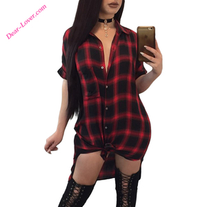 Winter Ladies Half Sleeve Notched Red Black Plaid Midi Shirt Dresses