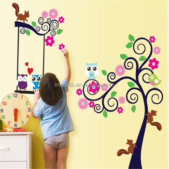 Wall Stickers New Oiginal Design Room Mates Scroll Cute Owl Tree Peel U0026  Stick Wall Decal