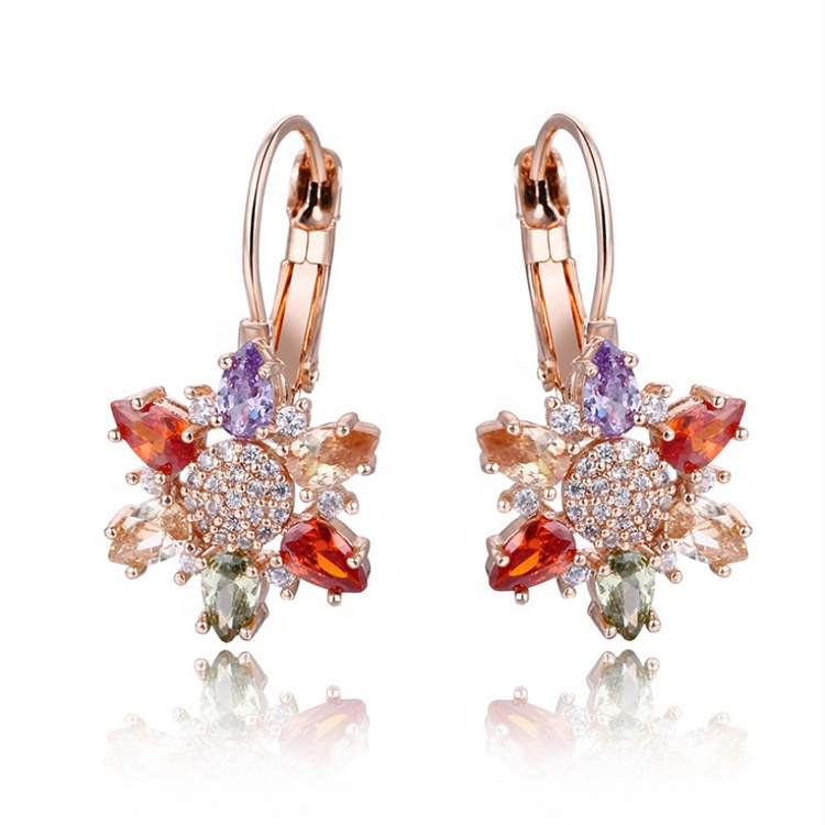 2019 Fashion jewelry zircon hoop <strong>earrings</strong> women 18K <strong>rose</strong> gold crystal <strong>flower</strong> <strong>earrings</strong> hypoallergenic