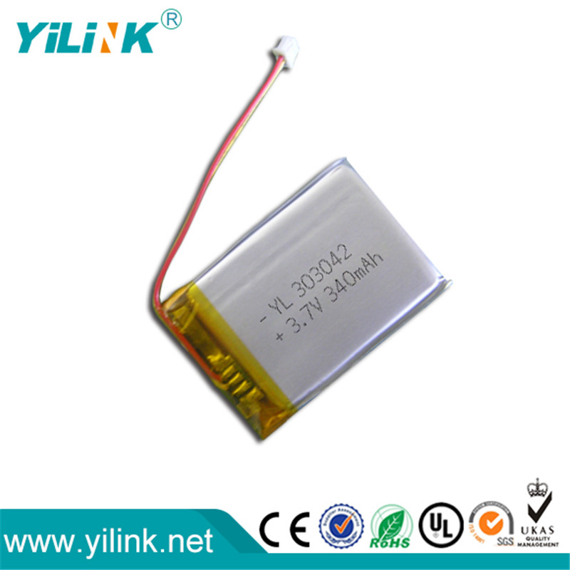 YiLink 3mm thickness 303042 340mah 3.7v lipo battery for electric toys