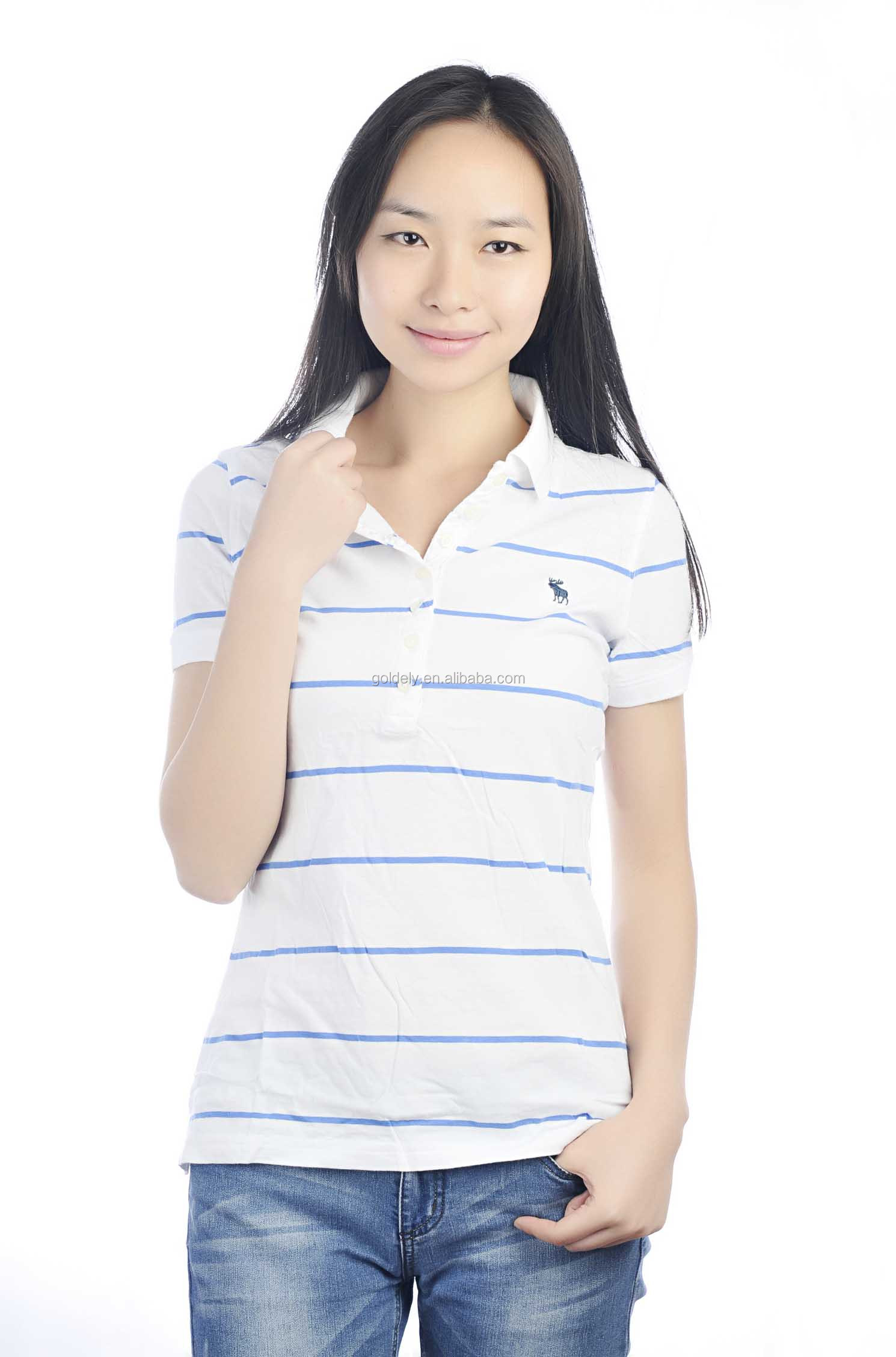 dc548293 Hot sale women striped polo t shirt casual fashion polo shirts cheap price  white blue striped