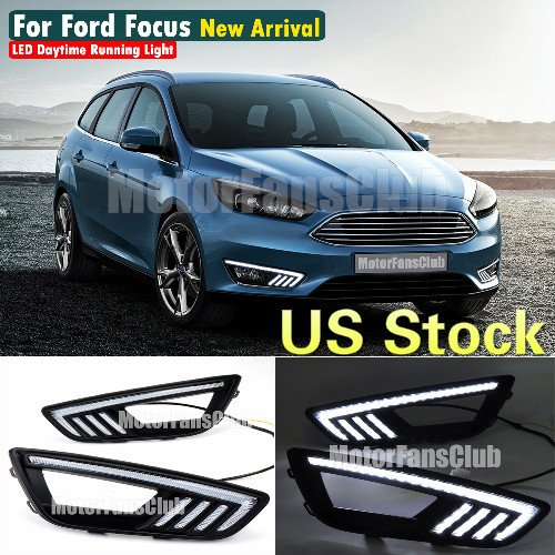 MotorFansClub LED Daytime Running Light DRL Fog Lamp Cover for Ford Focus 2015 2016 with Mustang Style