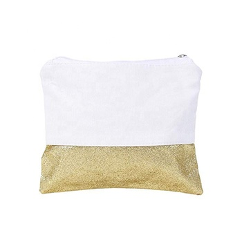 9*7 inch canvas glitter cosmetic bag cotton canvas cosmetic bag blank wholesale canvas cosmetic bag with zipper & white lining